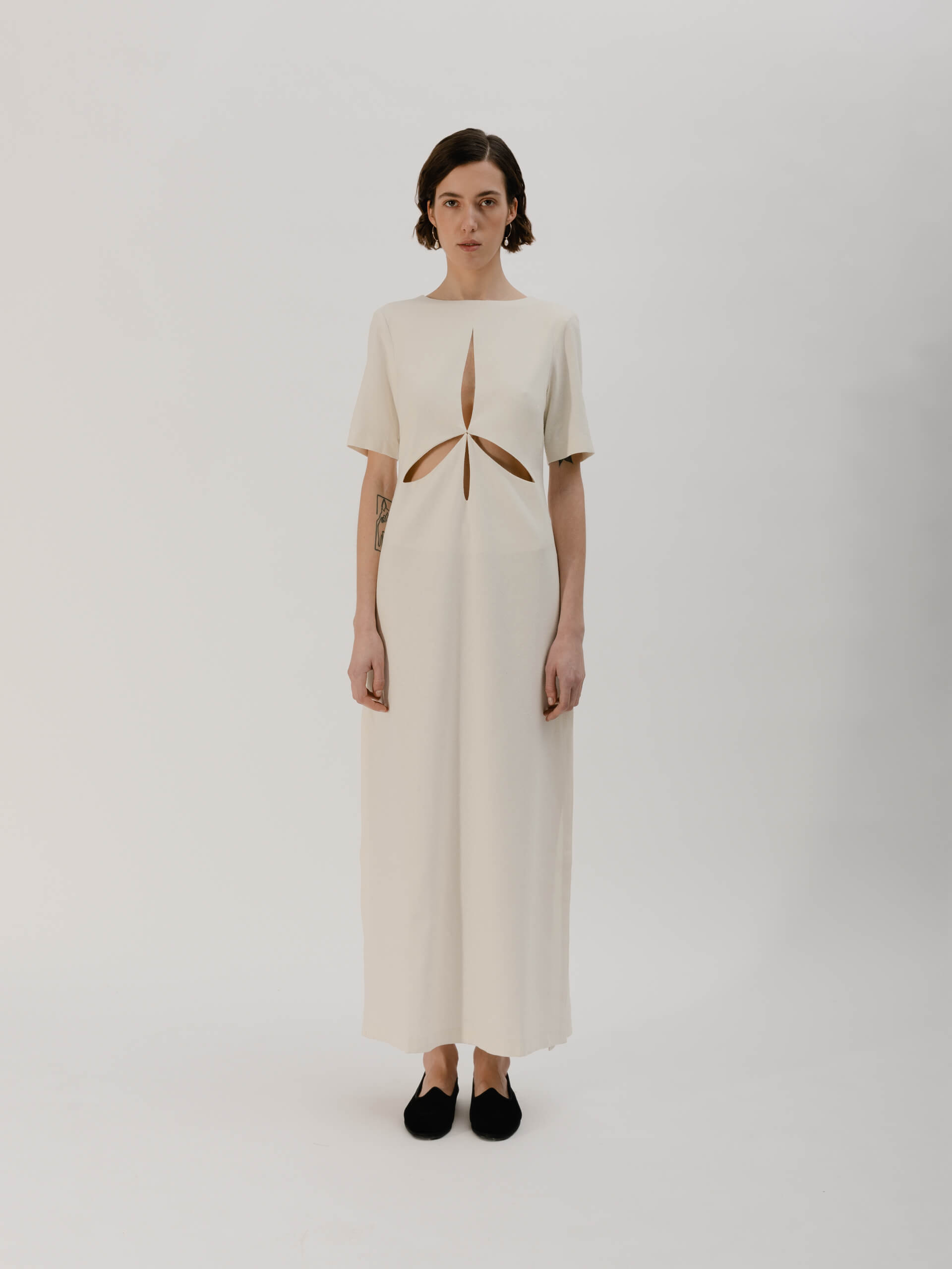 Mia dress, raw silk avorio
