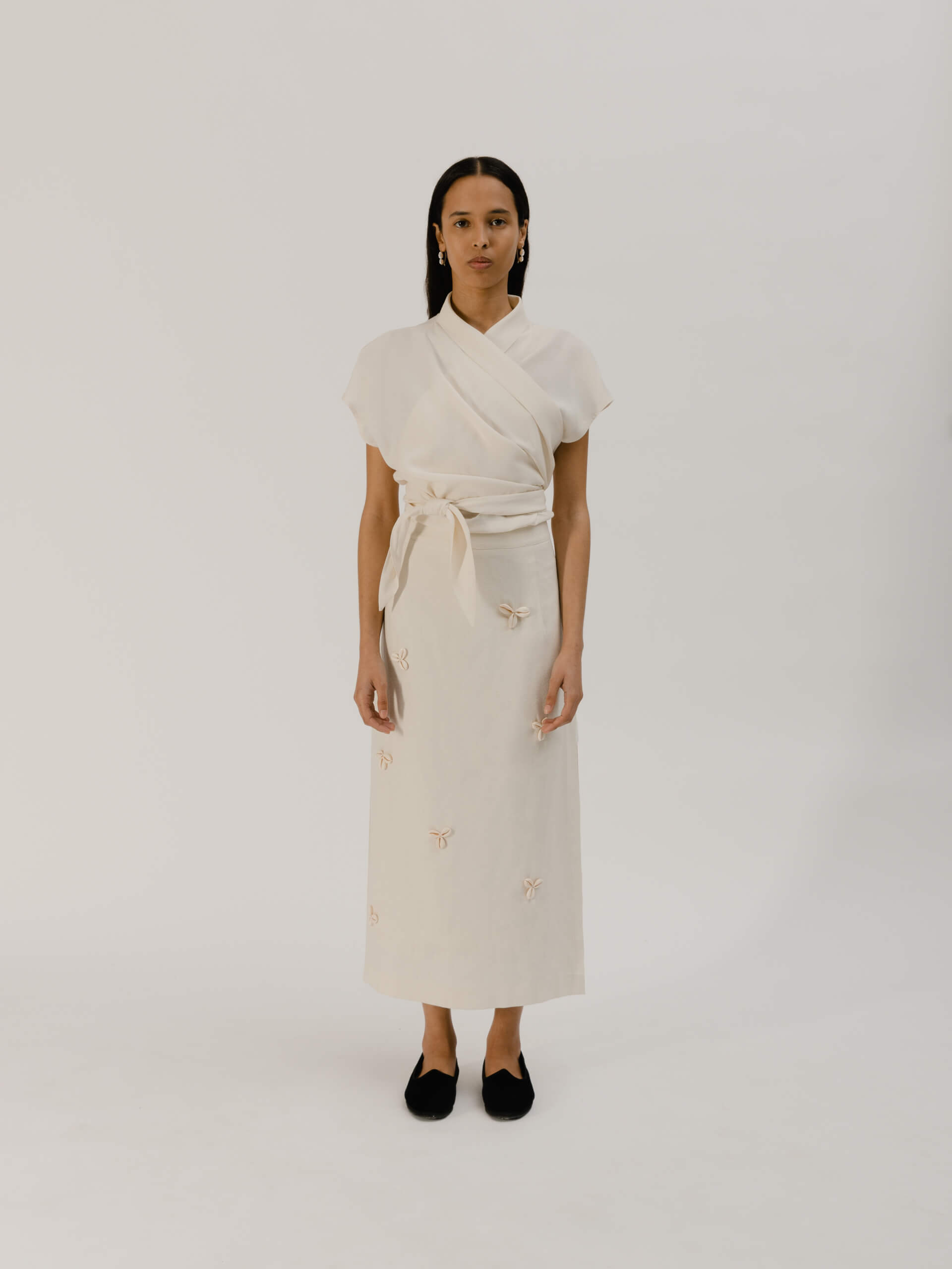 Tecla skirt, raw silk avorio